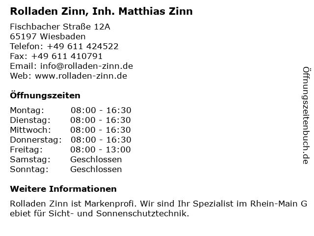 Rolladen Zinn, Inh. Matthias Zinn in Wiesbaden: Adresse und Öffnungszeiten