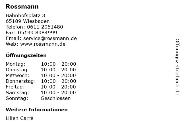 Rossmann in Wiesbaden: Adresse und Öffnungszeiten