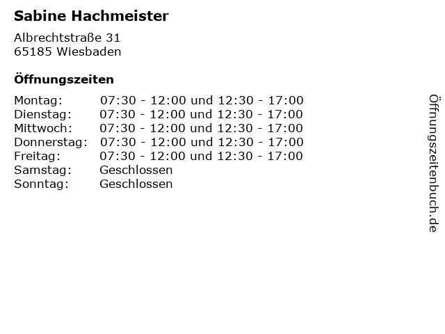 Sabine Hachmeister in Wiesbaden: Adresse und Öffnungszeiten