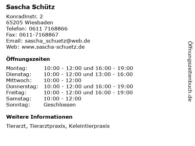 Sascha Schütz in Wiesbaden: Adresse und Öffnungszeiten