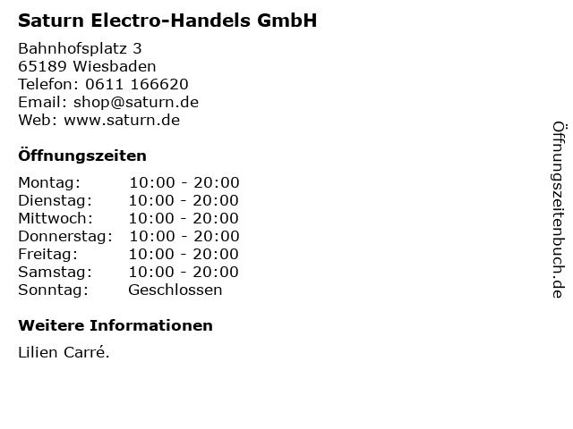 Saturn Electro-Handels GmbH in Wiesbaden: Adresse und Öffnungszeiten