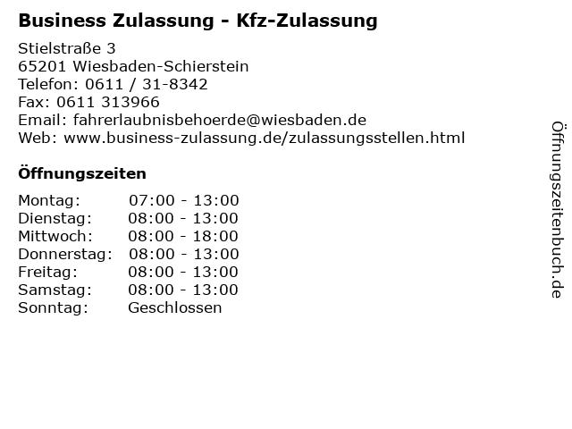 Business Zulassung - Kfz-Zulassung in Wiesbaden-Schierstein: Adresse und Öffnungszeiten