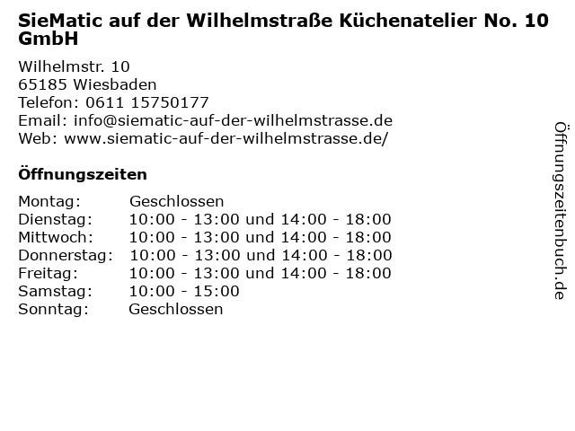 ᐅ Offnungszeiten Siematic Auf Der Wilhelmstrasse Kuchenatelier No