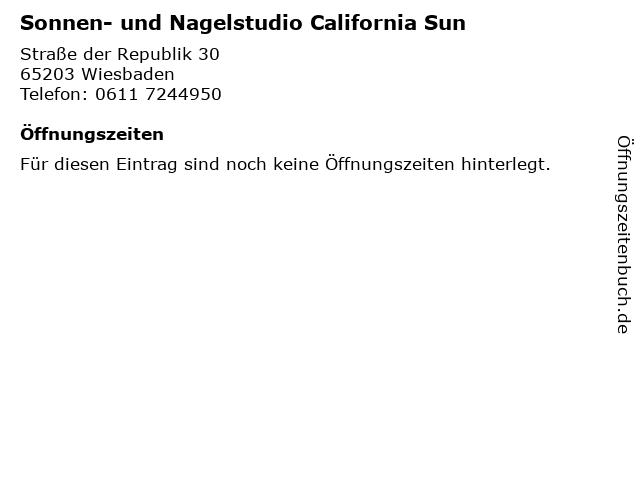 Sonnen- und Nagelstudio California Sun in Wiesbaden: Adresse und Öffnungszeiten