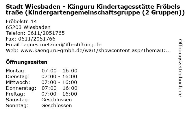 Stadt Wiesbaden - Känguru Kindertagesstätte Fröbelstraße (Kindergartengemeinschaftsgruppe (2 Gruppen)) in Wiesbaden: Adresse und Öffnungszeiten