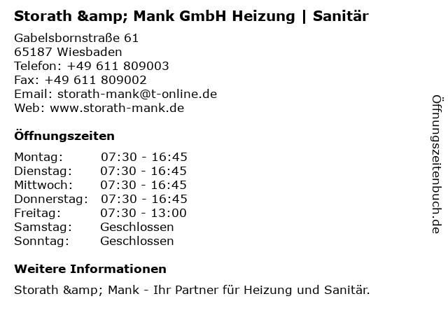 Storath & Mank GmbH Heizung | Sanitär in Wiesbaden: Adresse und Öffnungszeiten