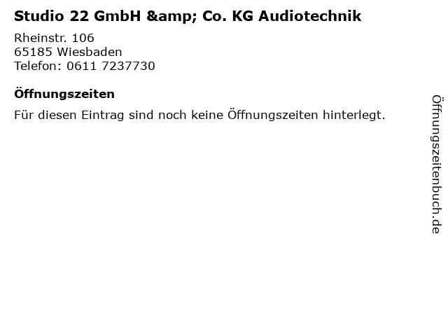 Studio 22 GmbH & Co. KG Audiotechnik in Wiesbaden: Adresse und Öffnungszeiten
