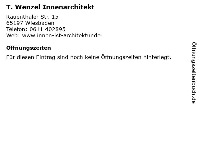 T. Wenzel Innenarchitekt in Wiesbaden: Adresse und Öffnungszeiten