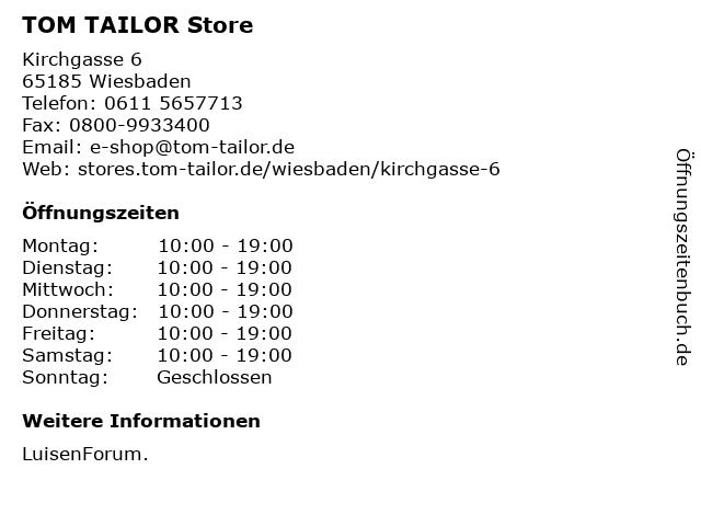TOM TAILOR Store in Wiesbaden: Adresse und Öffnungszeiten