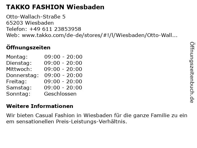 Takko fashion in Wiesbaden: Adresse und Öffnungszeiten