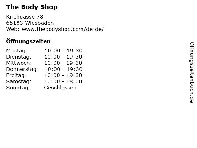 The Body Shop in Wiesbaden: Adresse und Öffnungszeiten