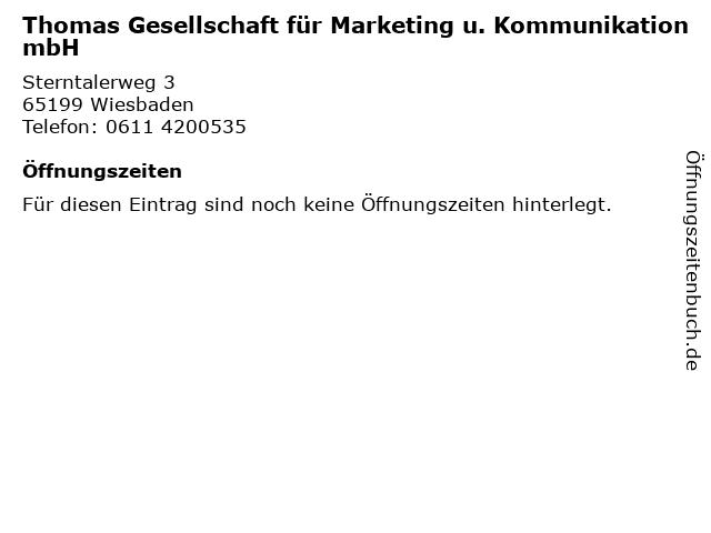 Thomas Gesellschaft für Marketing u. Kommunikation mbH in Wiesbaden: Adresse und Öffnungszeiten