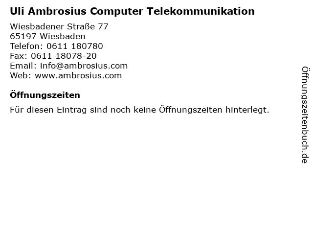 Uli Ambrosius Computer Telekommunikation in Wiesbaden: Adresse und Öffnungszeiten