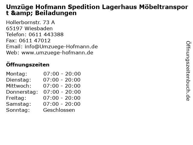 Umzüge Hofmann Spedition Lagerhaus Möbeltransport & Beiladungen in Wiesbaden: Adresse und Öffnungszeiten