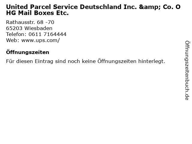 United Parcel Service Deutschland Inc. & Co. OHG Mail Boxes Etc. in Wiesbaden: Adresse und Öffnungszeiten