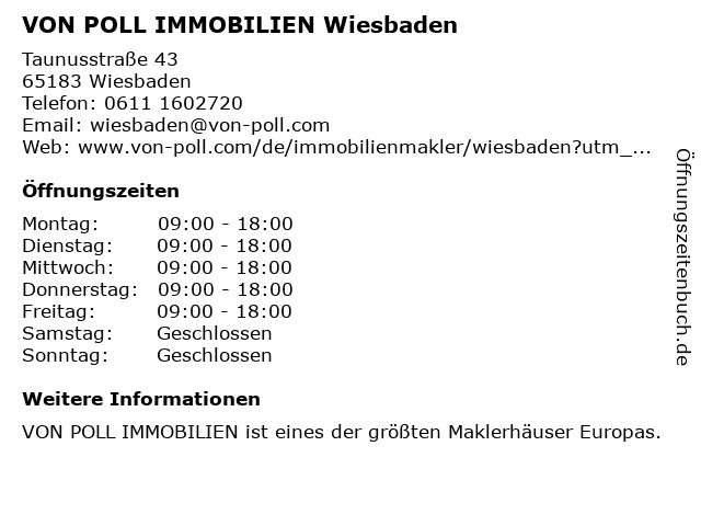 VON POLL IMMOBILIEN Wiesbaden in Wiesbaden: Adresse und Öffnungszeiten
