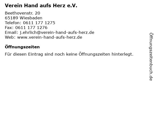 Verein Hand aufs Herz e.V. in Wiesbaden: Adresse und Öffnungszeiten
