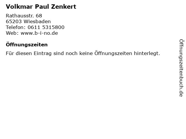 Volkmar Paul Zenkert in Wiesbaden: Adresse und Öffnungszeiten
