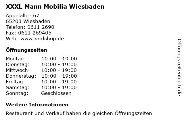 ᐅ öffnungszeiten Xxxl Mann Mobilia Wiesbaden äppelallee 67 In