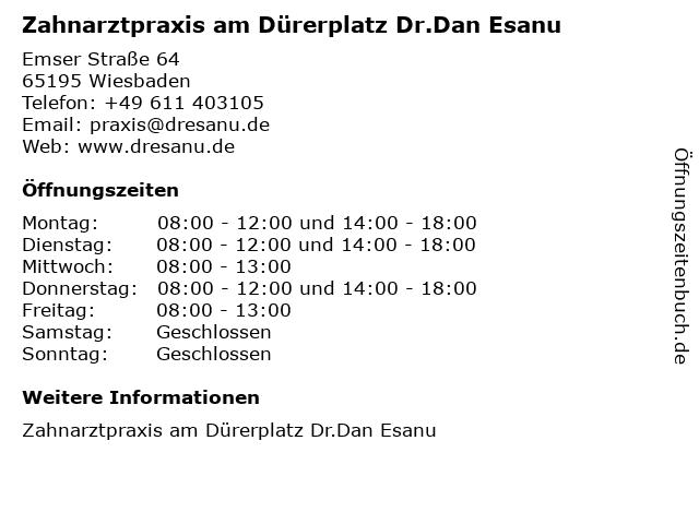Zahnarztpraxis am Dürerplatz Dr.Dan Esanu in Wiesbaden: Adresse und Öffnungszeiten