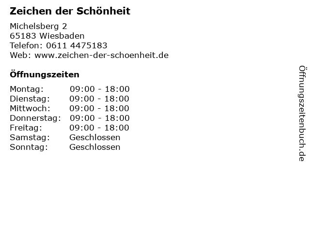 Zeichen der Schönheit in Wiesbaden: Adresse und Öffnungszeiten