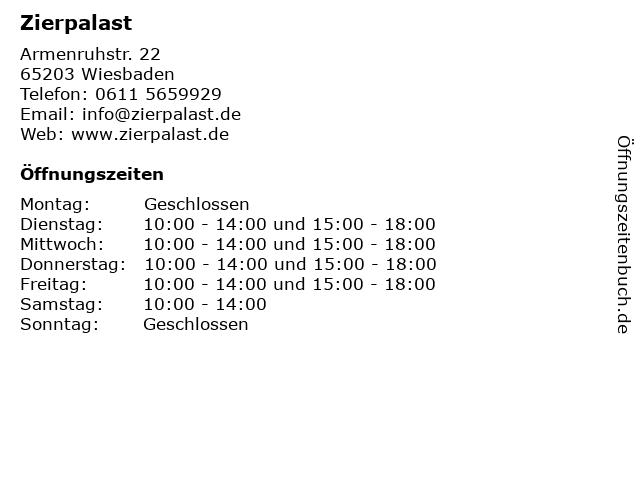 Zierpalast in Wiesbaden: Adresse und Öffnungszeiten