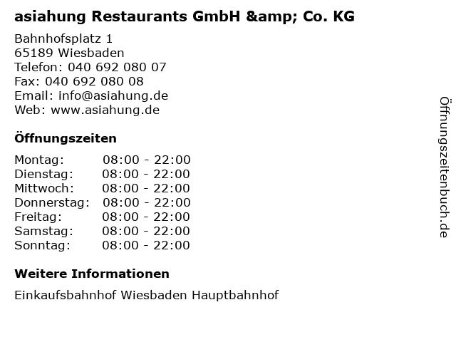 asiahung Restaurants GmbH & Co. KG in Wiesbaden: Adresse und Öffnungszeiten