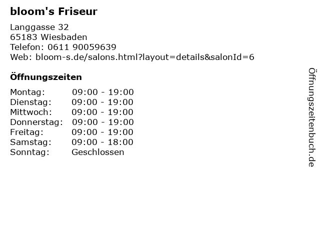 ᐅ öffnungszeiten Blooms Friseur Langgasse 32 In Wiesbaden