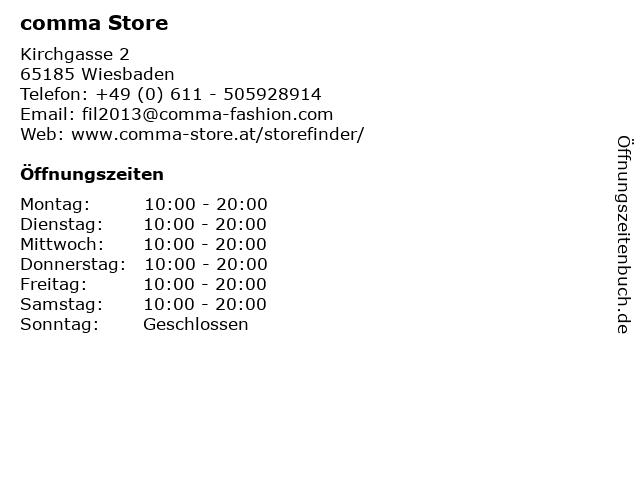 comma Store in Wiesbaden: Adresse und Öffnungszeiten