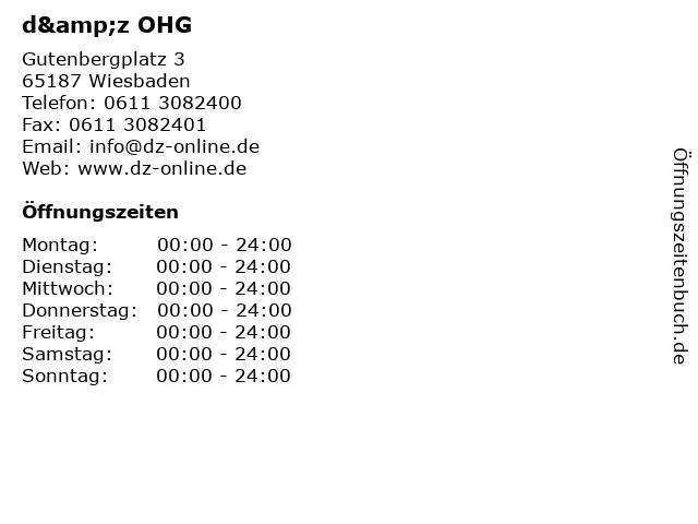 d&z OHG in Wiesbaden: Adresse und Öffnungszeiten
