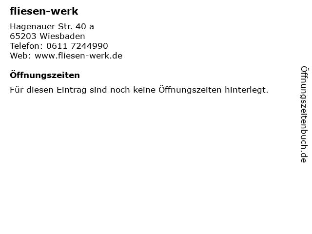 fliesen-werk in Wiesbaden: Adresse und Öffnungszeiten