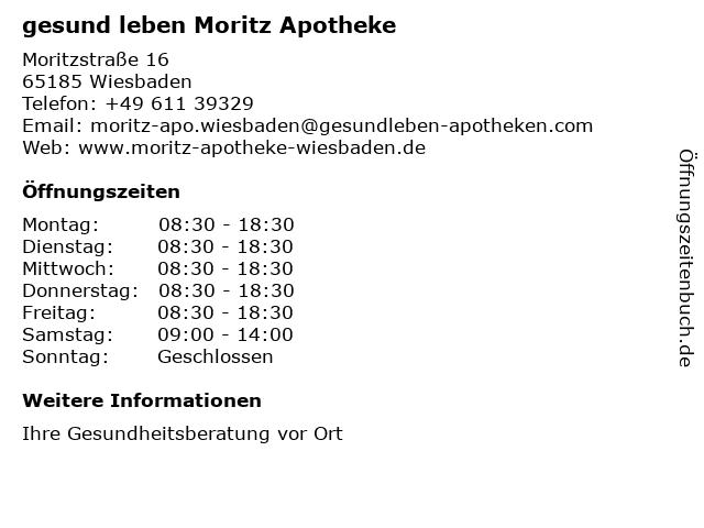 gesund leben Moritz Apotheke in Wiesbaden: Adresse und Öffnungszeiten