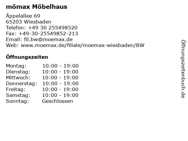 ᐅ öffnungszeiten Mömax Möbelhaus Wiesbaden äppelallee 69 In