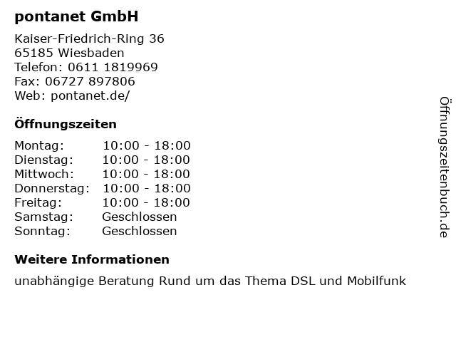 pontanet GmbH in Wiesbaden: Adresse und Öffnungszeiten