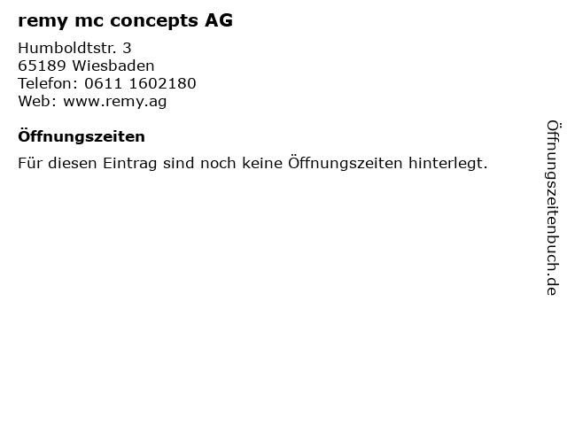 remy mc concepts AG in Wiesbaden: Adresse und Öffnungszeiten
