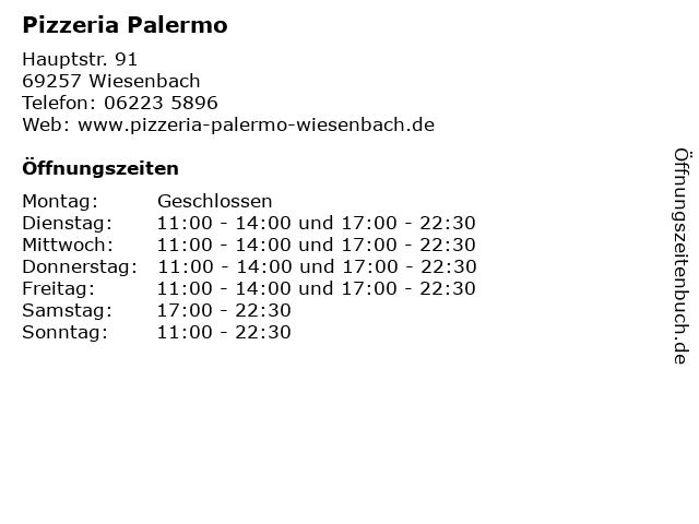 Pizzeria Palermo in Wiesenbach: Adresse und Öffnungszeiten