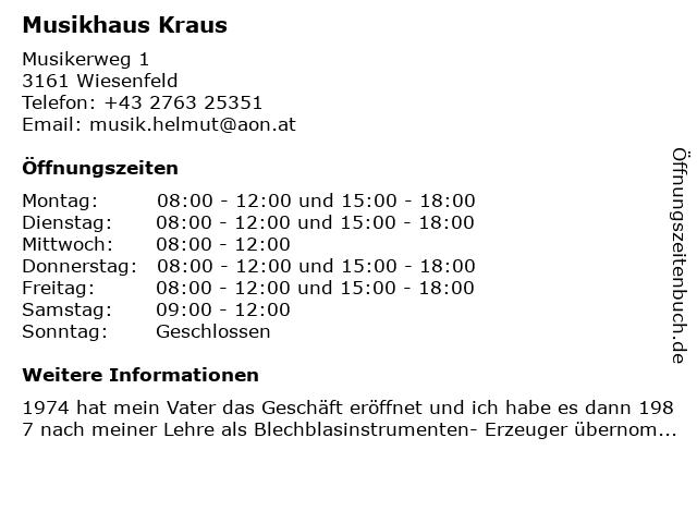 Musikhaus Kraus in Wiesenfeld: Adresse und Öffnungszeiten