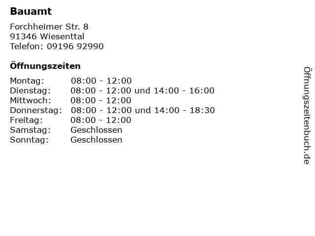Bauamt in Wiesenttal: Adresse und Öffnungszeiten