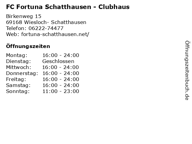 FC Fortuna Schatthausen - Clubhaus in Wiesloch- Schatthausen: Adresse und Öffnungszeiten