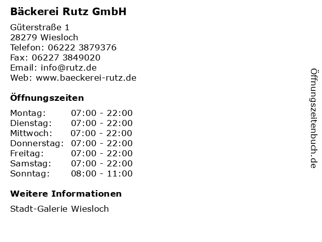 Bäckerei Rutz GmbH in Wiesloch: Adresse und Öffnungszeiten