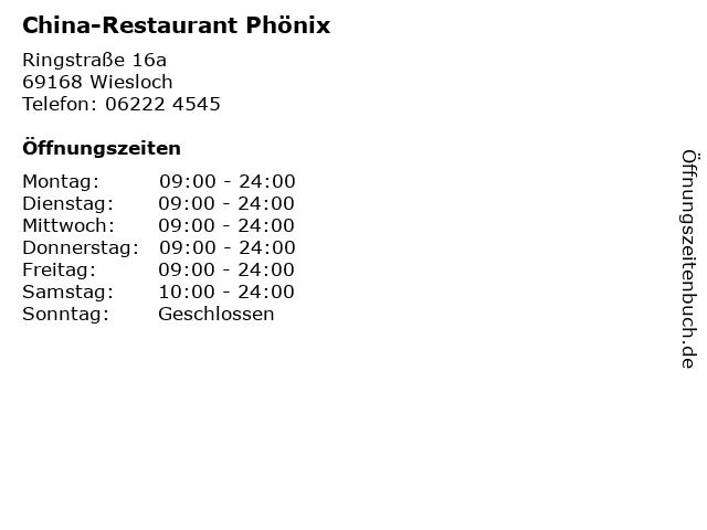 China-Restaurant Phönix in Wiesloch: Adresse und Öffnungszeiten