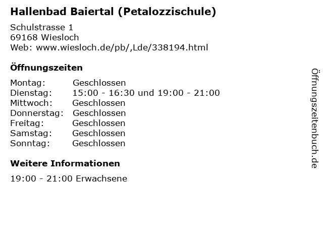Hallenbad Baiertal (Petalozzischule) in Wiesloch: Adresse und Öffnungszeiten