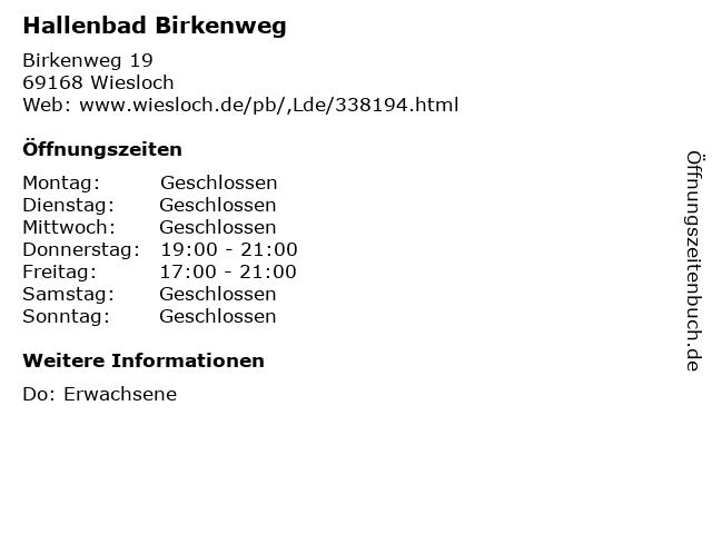 Hallenbad Birkenweg in Wiesloch: Adresse und Öffnungszeiten