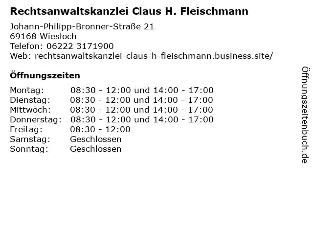 Rechtsanwaltskanzlei Claus H. Fleischmann in Wiesloch: Adresse und Öffnungszeiten