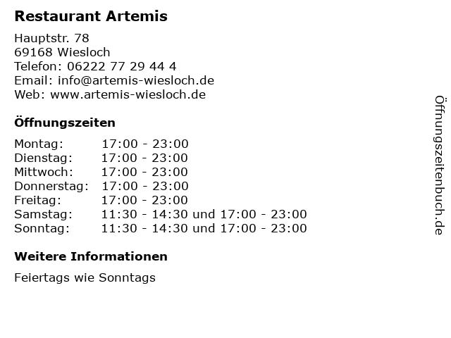 Restaurant Artemis in Wiesloch: Adresse und Öffnungszeiten