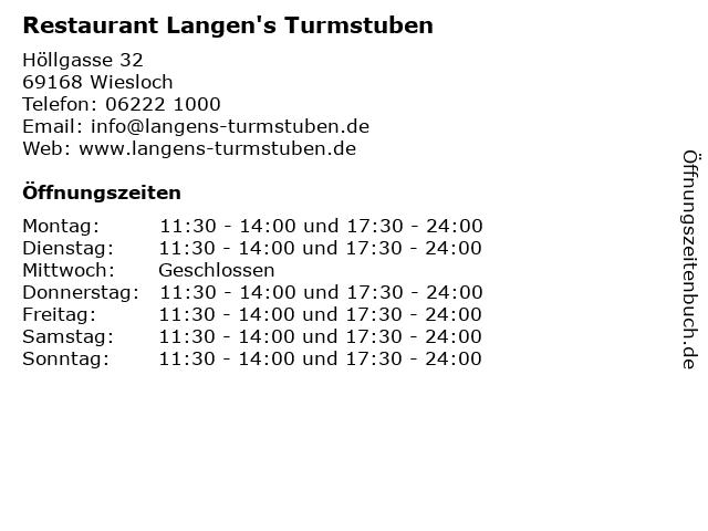 Restaurant Langen's Turmstuben in Wiesloch: Adresse und Öffnungszeiten