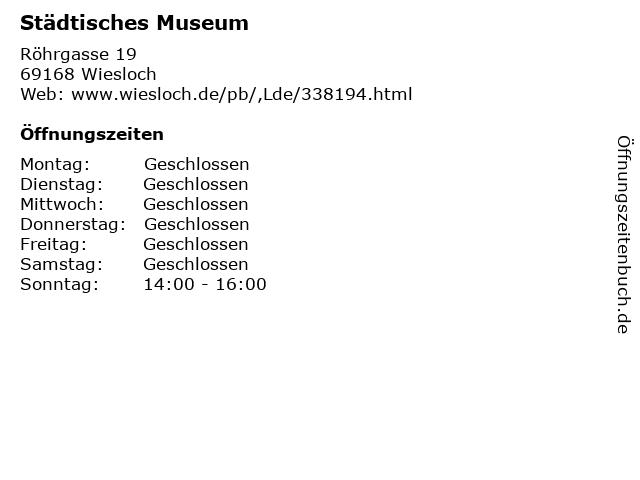 Städtisches Museum in Wiesloch: Adresse und Öffnungszeiten