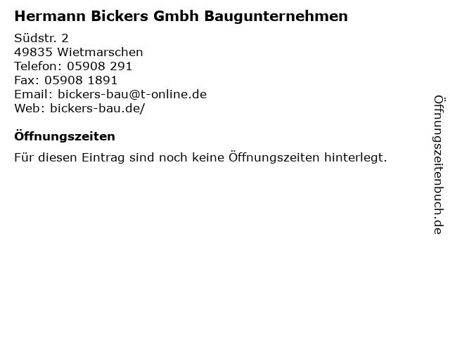 Hermann Bickers Gmbh Baugunternehmen in Wietmarschen: Adresse und Öffnungszeiten