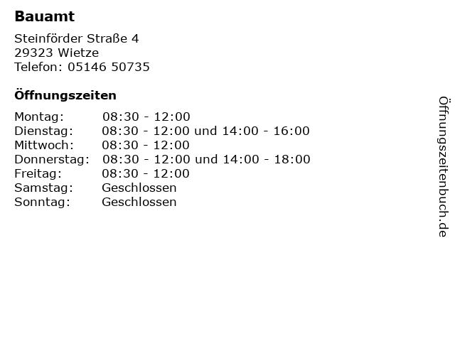 Bauamt in Wietze: Adresse und Öffnungszeiten