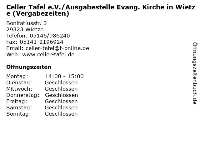 Celler Tafel e.V./Ausgabestelle Evang. Kirche in Wietze (Vergabezeiten) in Wietze: Adresse und Öffnungszeiten